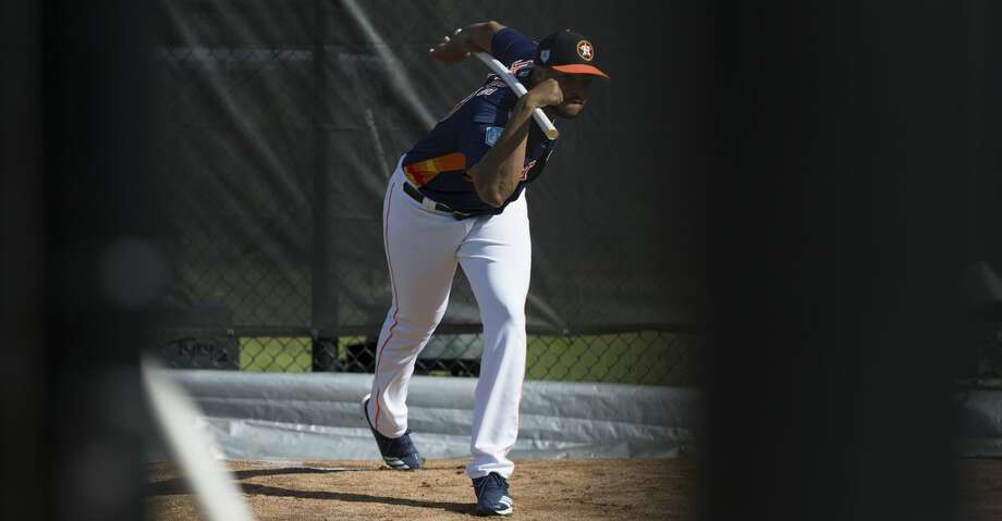 PHOTOS: Top prospects Houston Astros right handed pitcher Josh James (39) stretches his body during warm-up at Fitteam Ballpark of The Palm Beaches on Day 8 of spring training on Thursday, Feb. 21, 2019, in West Palm Beach. Browse through the photos to see the Astros' top prospects ahead of the 2019 season. Photo: Yi-Chin Lee/Staff Photographer
