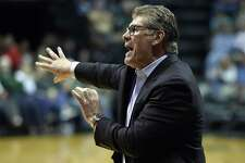 UConn coach Geno Auriemma shouts to his players during the second half against South Florida on March 4 in Tampa.