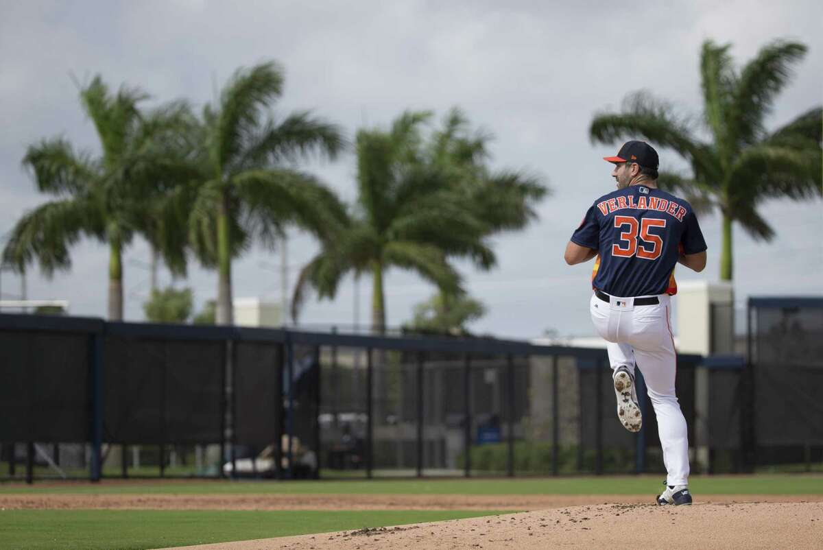 Justin Verlander, working out this spring, earned the expected assignment as the Astros starter for opening day.