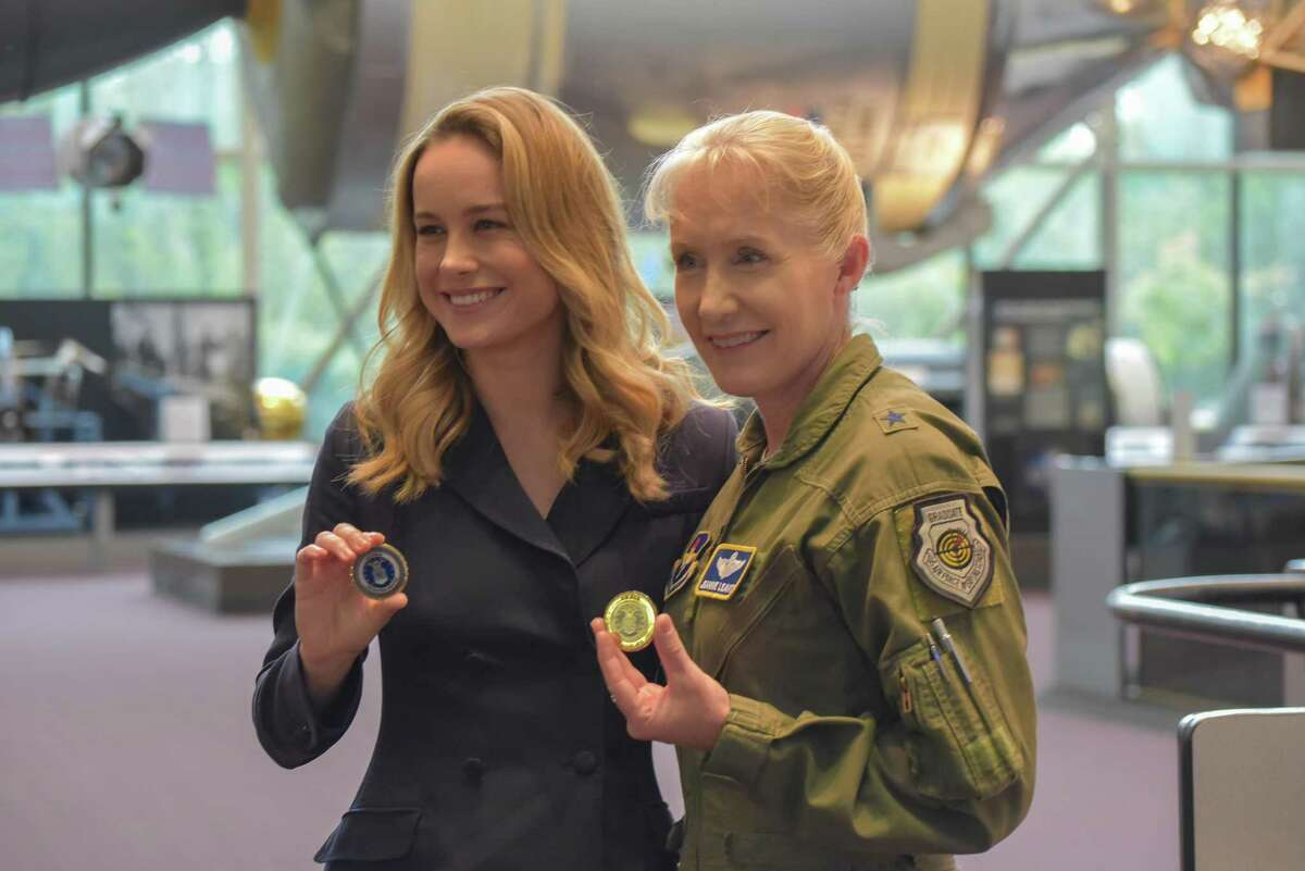 """When preparing for her role in """"Captain Marvel,"""" actress Brie Larson met with Brig. Gen. Jeannie Leavitt, the Air Force's first female fighter pilot, to research her character. The two met again in September at the National Air and Space Museum, Smithsonian Institution. (United States Air Force photo by 2d Lt Jessica Cicchetto)(Released)"""