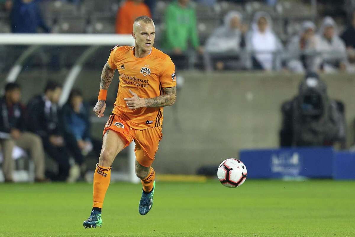 The Dynamo's Aljaz Struna controls the ball during the match against CD Guastatoya in the CONCACAF Champions League 2019.
