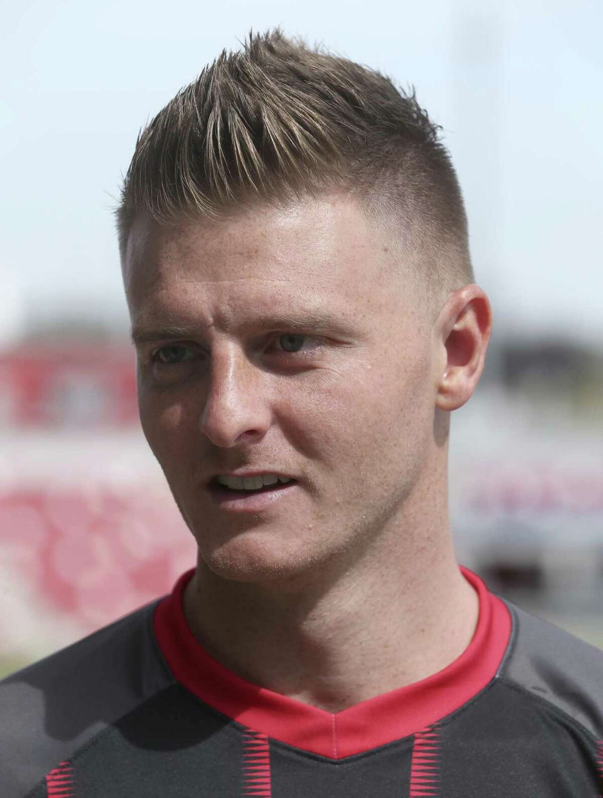 Midfielder Jack Barmby answers reporters' questions Thursday, Feb. 14, 2019 at Toyota Field during San Antonio FC's media day.