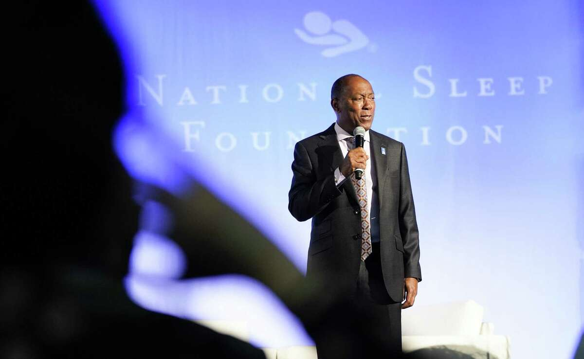 Houston Mayor Sylvester Turner talks to attendees during the opening of the Sleep Show hosted by the National Sleep Foundation at George R. Brown on Friday, March 8, 2019 in Houston. The show featured a variety of items geared towards a better sleep.