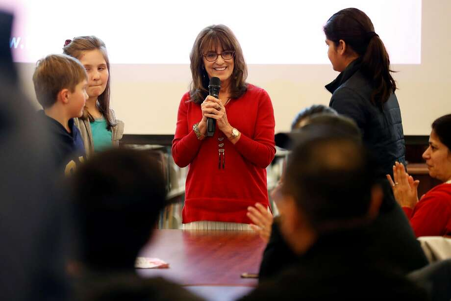 San Ramon Valley Education Association President Ann Katzburg welcomes students during town hall meeting at Dougherty Valley High School in San Ramon on March 6. Photo: Scott Strazzante / The Chronicle