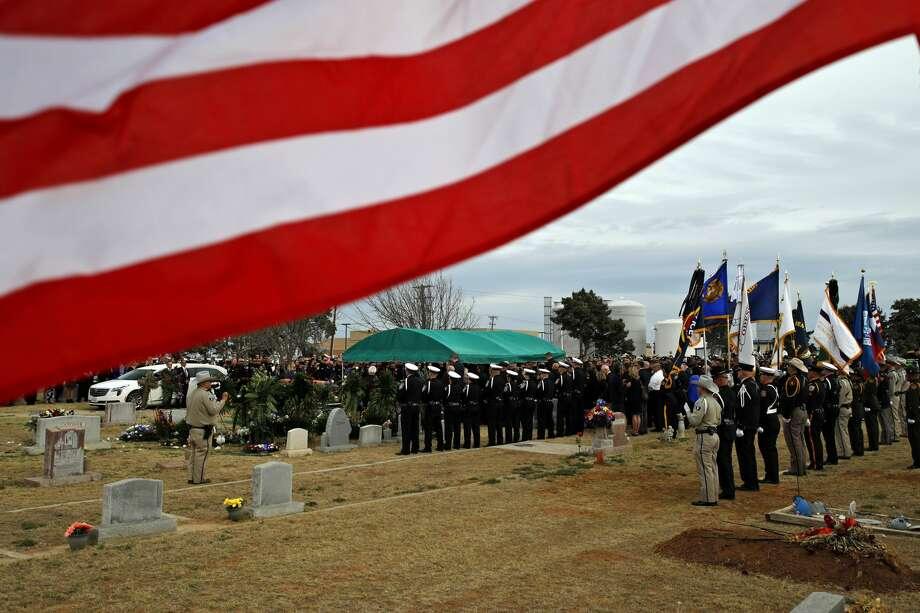 Funeral for Midland Police Department Officer Nathan Heidelberg, March 8, 2019, in Greenwood.  James Durbin / Reporter-Telegram Photo: James Durbin / Midland Reporter-