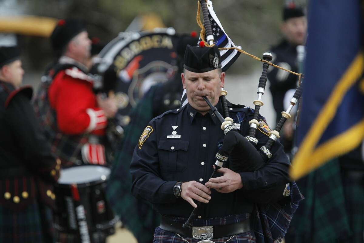Bagpipes are played during the funeral for Midland Police Department Officer Nathan Heidelberg, March 8, 2019, in Greenwood. James Durbin / Reporter-Telegram