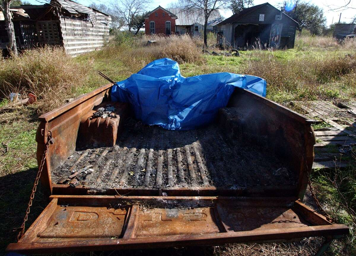 This is the Datsun pickup truck bed that the charred remains of Terrell Hills resident Susan McFarland were found in on a deserted farm on W.W. White Road.