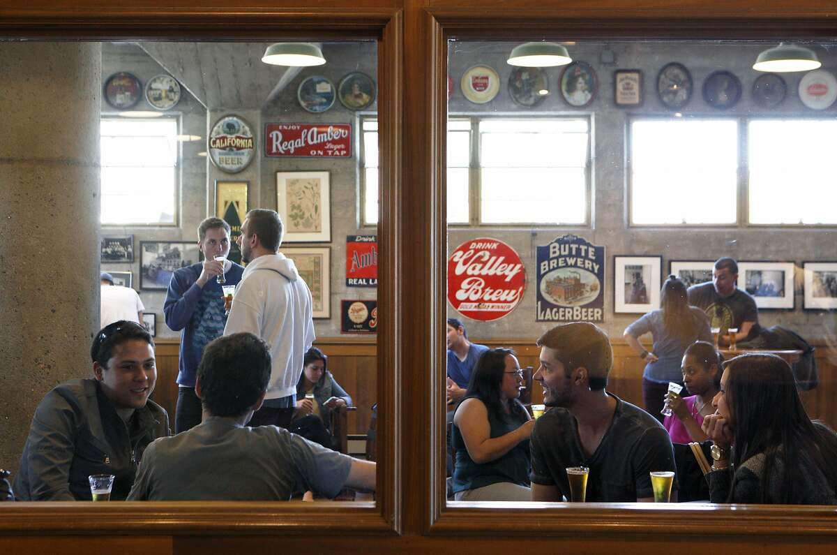 After a guided tour, guests have a beer tasting session at Anchor Brewing, Monday, April 27, 2015, in San Francisco, Calif.