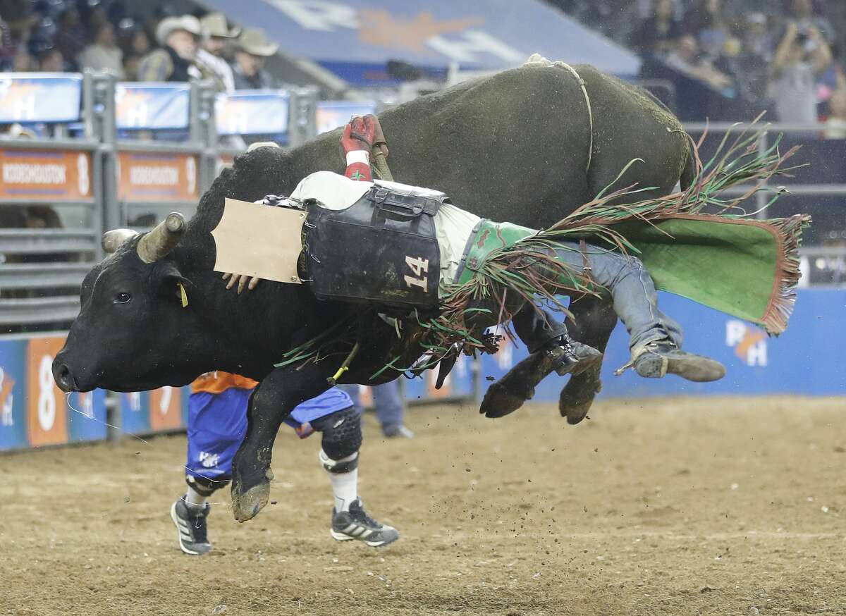 Josh Frost gets bucked off Foolish Crimes as he competed in the bull riding event at the Houston Livestock Show and Rodeo at NRG Stadium, Friday, March 8, 2019, in Houston.