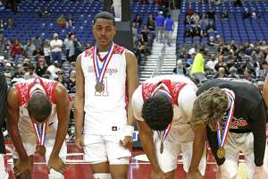North Shore finds it difficult to hold up their heads after losing to Duncanville. UIL boys basketball 6A State semi-final between Galena Park North Shore and Duncanville on Friday, March 8, 2019 at the Alamodome in San Antonio, Texas. (Ron Cortes/ Special Contributor)