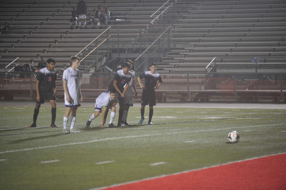 PN-G's Ty Bigham get ready for his penalty kick on Friday night against Memorial. Photo: Meshach Sullivan  / The Enterprise