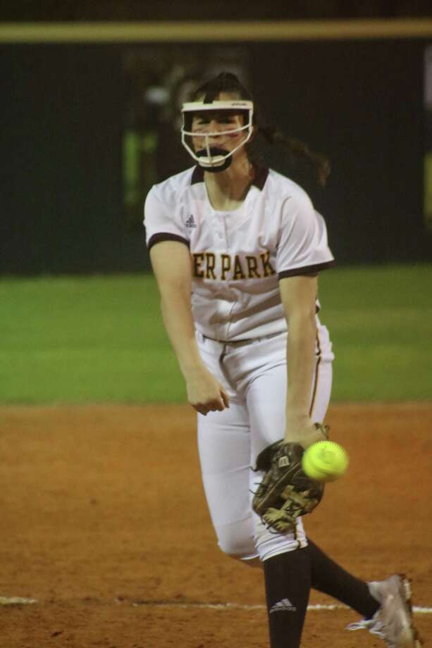 Deer Park freshman hurler Madison Applebe delivers a fourth-inning pitch, attempting to keep her perfect game alive Friday night. In her Doll Forrest Field debut, Applebe celebrated by getting the win in the pitching circle. Photo: Robert Avery