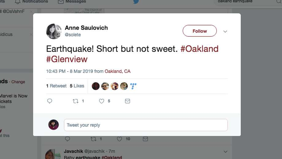 Oakland residents react to a magnitude 2.8 earthquake that shook the Dimond District. Photo: Screengrab Via Twitter