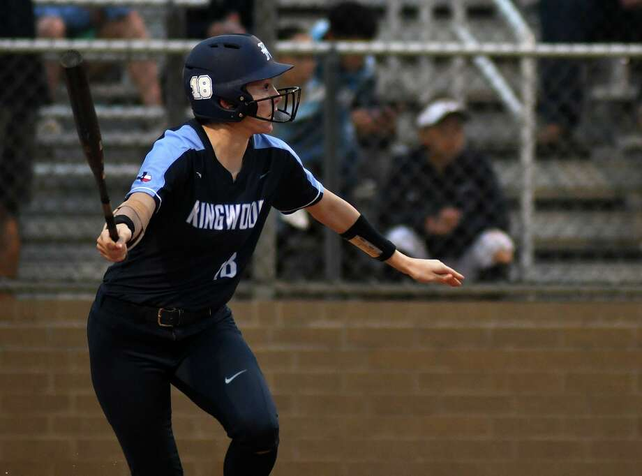 Kingwood's Ashley York drives the ball against Summer Creek in the top of the 1st inning of their District 22-6A matchup at SCHS on March 8, 2019. Photo: Jerry Baker, Houston Chronicle / Contributor / Houston Chronicle