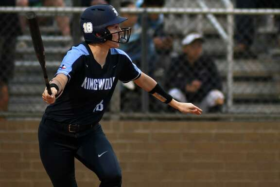Kingwood's Ashley York drives the ball against Summer Creek in the top of the 1st inning of their District 22-6A matchup at SCHS on March 8, 2019.