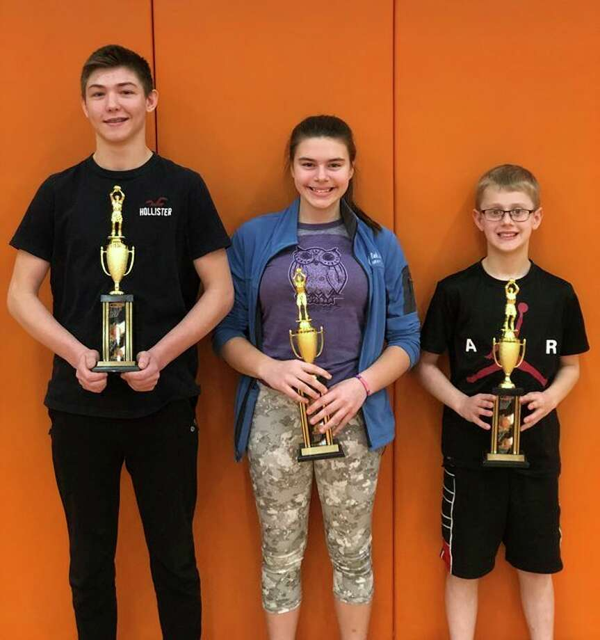 The Knights of Columbus Council recently held the official Diocesan Championship in the free throw competition. Justin Voss, Taryn Hurren and Collin Franzel earned their ticket to compete in the state championship on March 17 in Mount Pleasant. To qualify for the state finals, one must win the council, district and diocesan competition. (Submitted Photo)