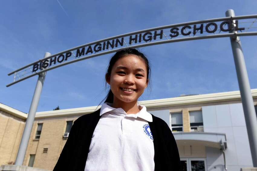 Ni Lar Way, a Burmese refugee who is set to be the valedictorian of her Bishop Maginn High School class, is pictured at the school on Friday, March 8, 2019, in Albany, N.Y. (Will Waldron/Times Union)