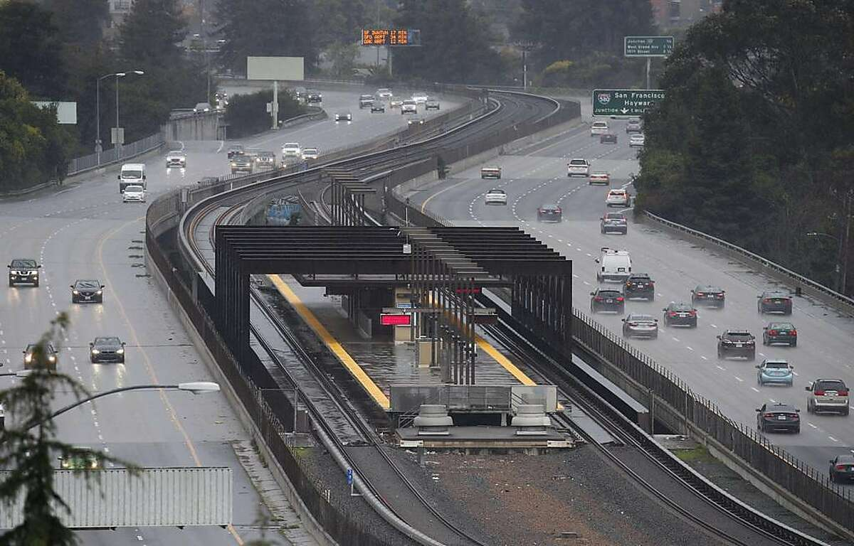 The Rockridge BART station platform is deserted in Oakland, Calif. on Saturday, March 9, 2019 after computer glitches forced a shutdown of the entire transit system.