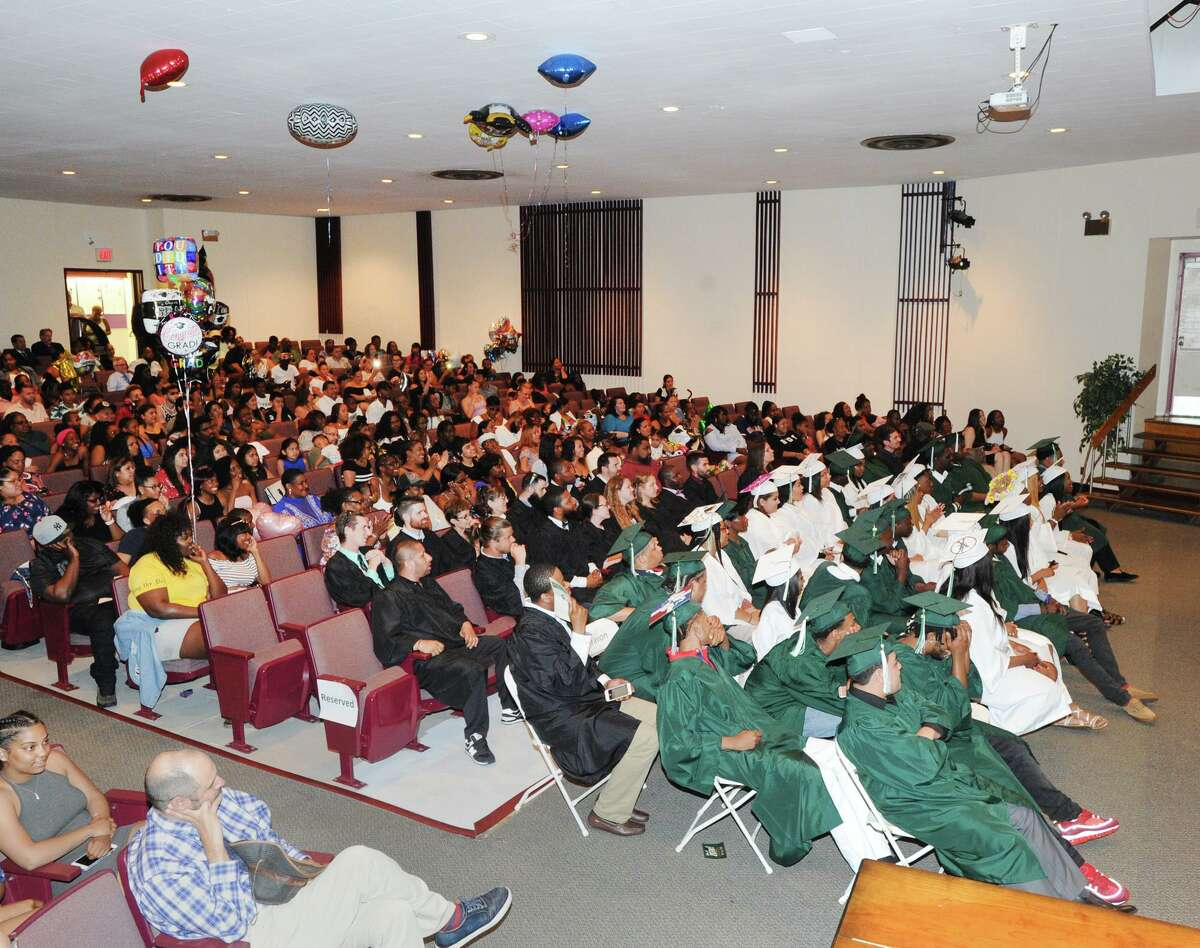 The Stamford Academy graduation ceremony at the Trailblazers Academy in Stamford, Conn., Thursday night, June 21, 2018. Thirty-seven students graduated from the school that provides smaller class sizes, individualized attention and a curriculum that is based on the National Common Core State Standards. Chefren Gray the owner of Gray Matter Photography was the keynote speaker.