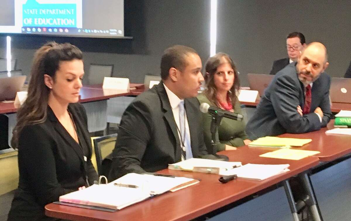 Stamford Academy officials addressed the state Board of Education in Hartford last week.