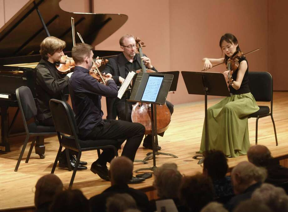 The Musicians from Marlboro will perform in concert from 4 to 5:30 p.m. March 17 in the Cole Auditorium at the Greenwich Library. The lineup includes music from Haydn, Purcell, Britten and Dvořák with Anna Lee and Alexi Kenney on violin; Luosha Fang on violin/viola; Hsin-Yun Huang on viola; and Sujin Lee and Judith Serkin on cello. The doors open at 3:30 p.m. for the free concert. Photo: Tyler Sizemore / Hearst Connecticut Media / Greenwich Time