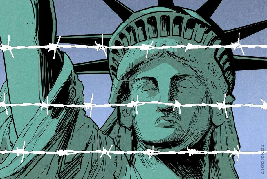 This artwork by Paul Tong refers to Trump's controversial immigration ban. Photo: Paul Tong