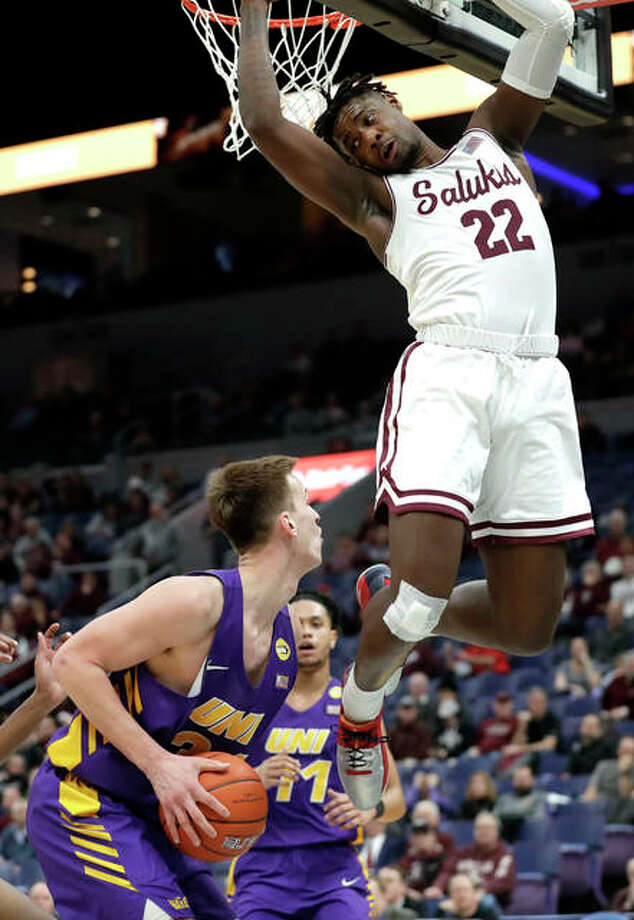 Northern Iowa's Luke McDonnell looks to the basket as Southern Illinois' Armon Fletcher (22) defends during the second half of an NCAA college basketball game in the quarterfinals of the Missouri Valley Conference men's tournament Friday, March 8, 2019, in St. Louis. Photo: Associated Press