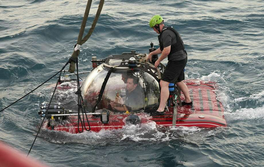This submersible is expected to dive to almost 1,000 feet off the Seychelles and send images to a satellite transmitter on a mother ship. The Indian Ocean is the least explored in the world. Photo: David Keyton / Associated Press