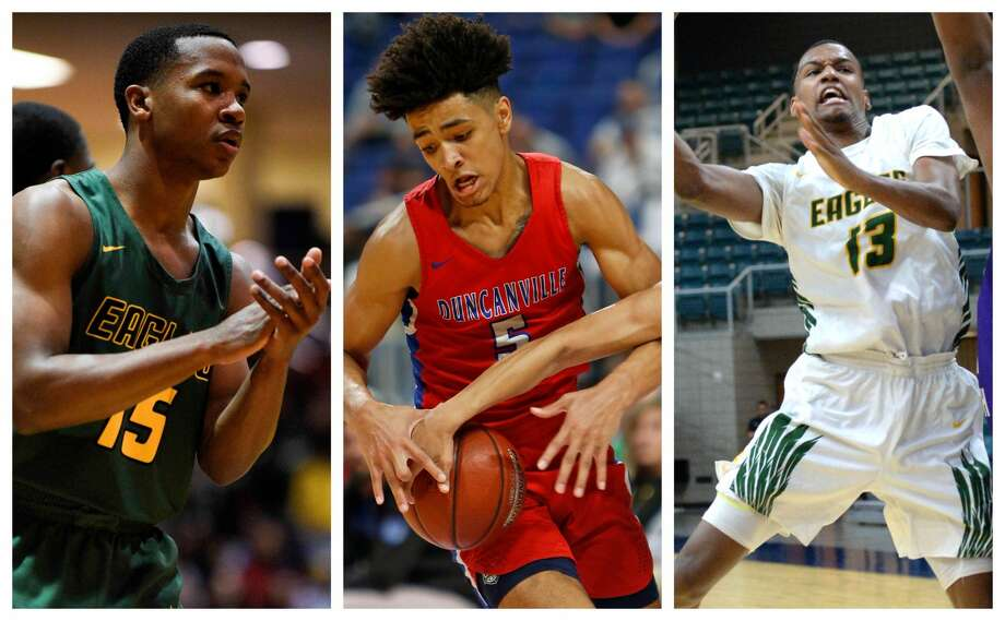 PHOTOS: Houston's top high school basketball recruits Duncanville's Micah Peavy, center, a former player at Dekaney, will face a familiar opponent in Klein Forest's Kharee McDaniel, left, and Calvin Solomon in Saturday night's Class 6A state title game at the Alamodome in San Antonio on March 9, 2019. >>>See te top high school basketball recruits in the Houston area ... Photo: HCN/Houston Chronicle (Eric Christian Smith, Ronald Cortes, Craig Moseley)