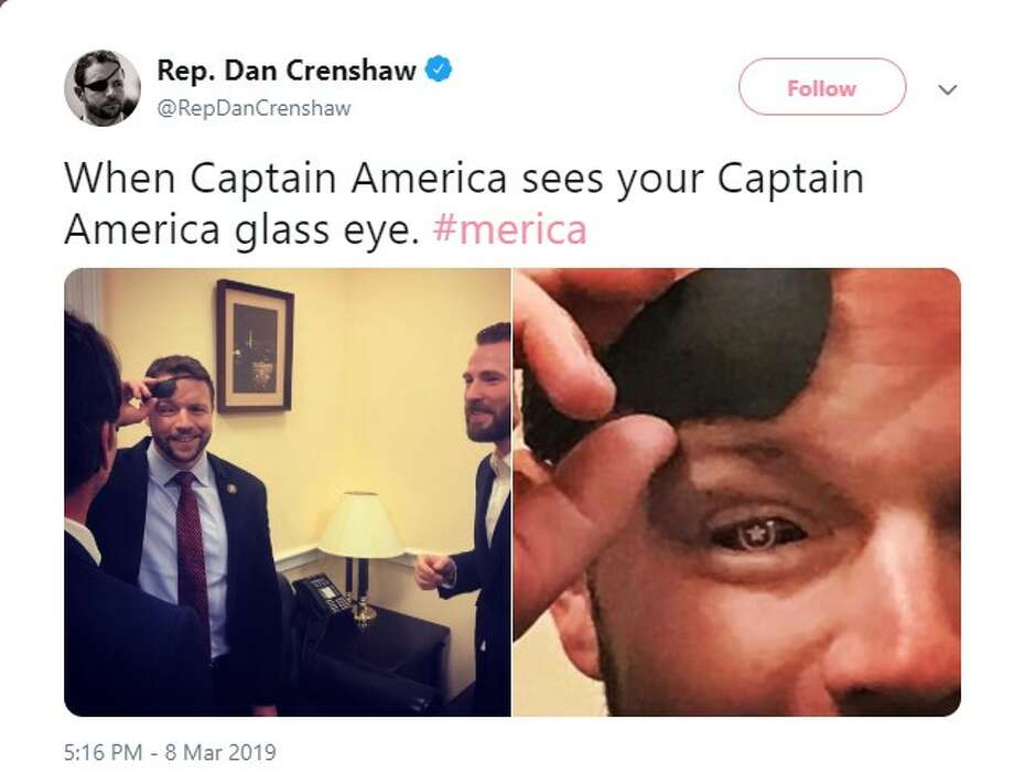 @RepDanCrenshaw: When Captain America sees your Captain America glass eye. Photo: Twitter Screenshot