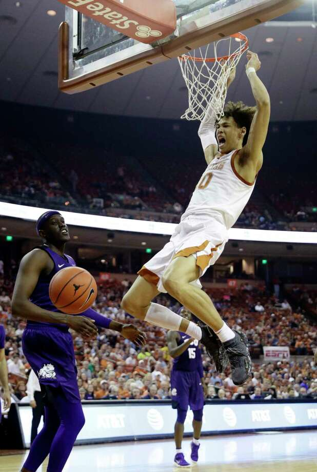 Texas forward Jaxson Hayes (10) scores against TCU during the second half of an NCAA college basketball game, Saturday, March 9, 2019, in Austin, Texas. (AP Photo/Eric Gay) Photo: Eric Gay, Associated Press / Copyright 2019 The Associated Press. All rights reserved.