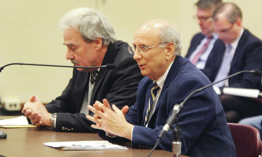 Lewis and Clark Community College President Dale Chapman, right, speaks during a public hearing on a possible capital improvement bill held Monday at SIUE. The hearing was the second of six statewide hearings set on the proposal. Photo: Scott Cousins | The Telegraph