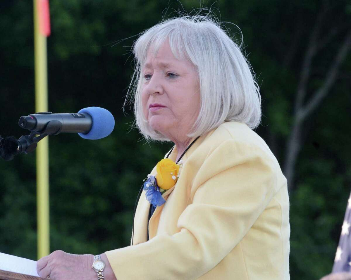 Karen Stanek delivers the Distinguished Alumnus Address during Seymour High School's Commencement ceremony at their campus in Seymour, Conn. on Thursday June, 9, 2016. The Seymour Board of Selectmen is expected to appoint a Democratic candidate to fill the unexpired portion of Stanek's term. She died on March 8, 2019.