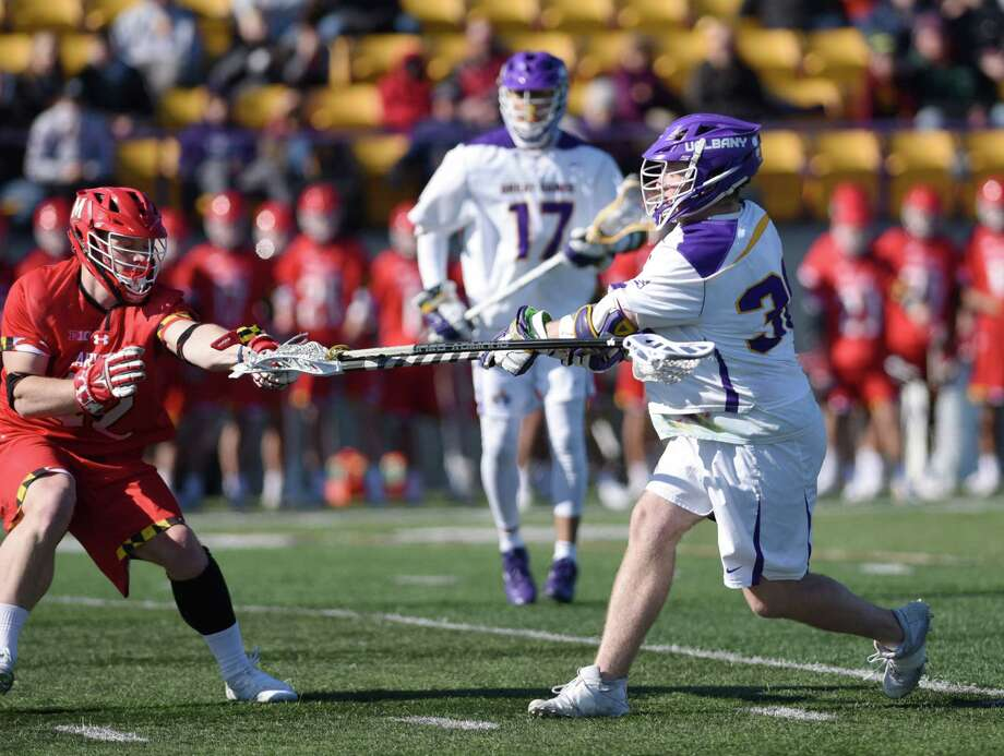 UAlbany midfielder Sean Eccles scores a goal during a game against Maryland on Saturday, March 9, 2019 at Casey Stadium in Albany, NY. (Phoebe Sheehan/Times Union) Photo: Phoebe Sheehan, Albany Times Union / 20046330A