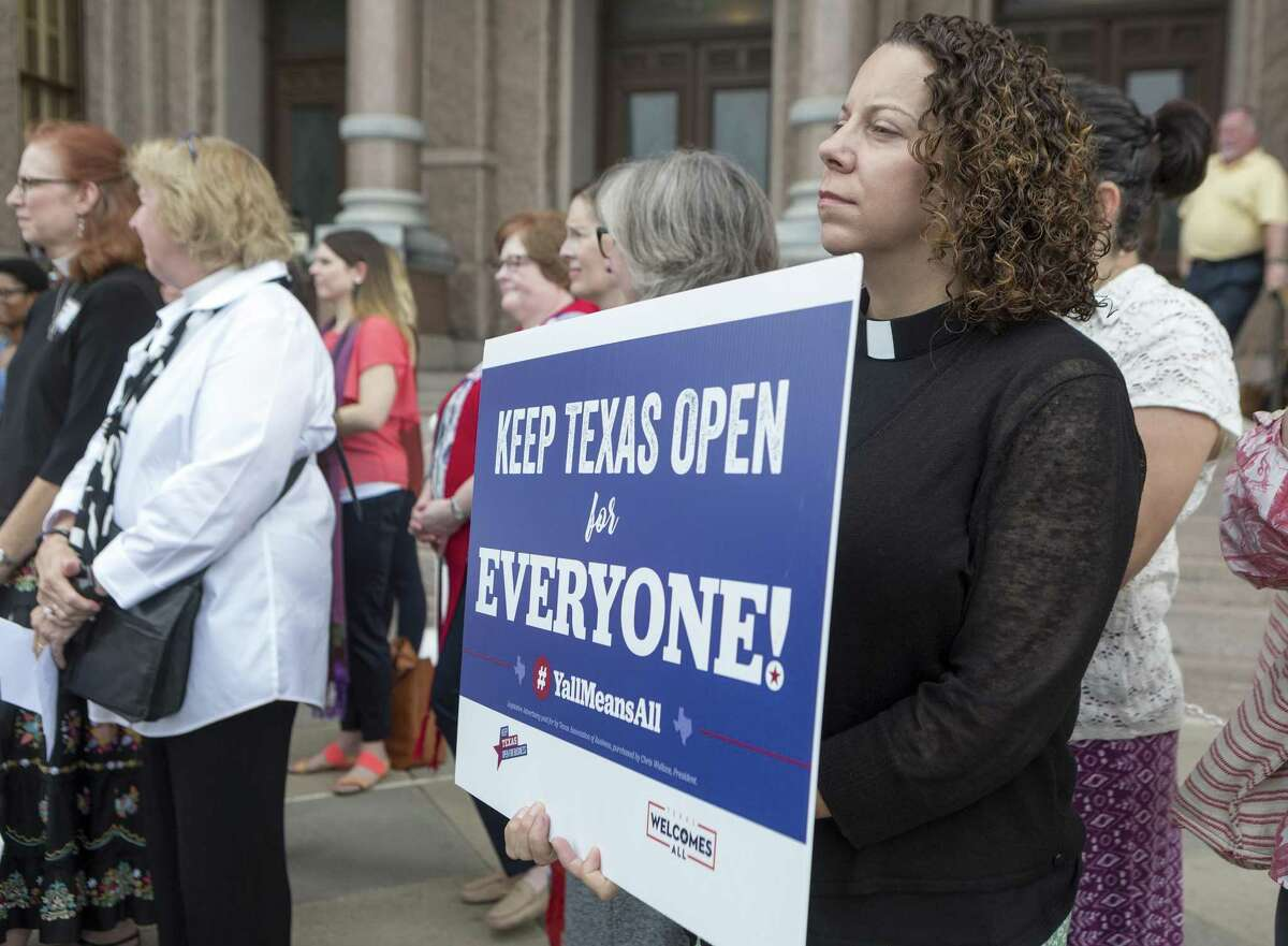 """Rev. Cathy Stone attends the """"Keep Texas Open for Business"""" event at the Texas Capitol in Austin on Aug. 8, 2017. Those in attendance urged the Texas Legislator to reject the bathroom bill, which ultimately failed."""