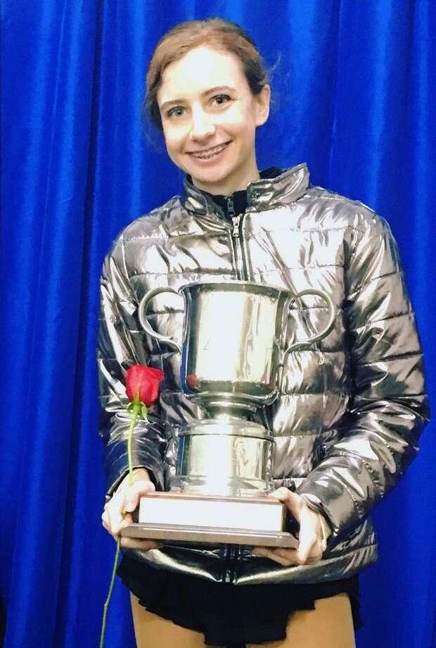 Zoe Kassapidis, a Greenwich resident and Sacred Heart Greenwich student, won the Kaye Haggarty Award at the Greenwich Town Skating Competition recently at Dorothy Hamill Skating Rink. Kassapidis has won the award three straight years. Photo: Contributed Photo / Greenwich Time Contributed