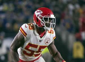 FILE - In this Nov. 19, 2018, file photo, Kansas City Chiefs outside linebacker Dee Ford during an NFL football game against the Los Angeles Rams in Los Angeles. The Chiefs placed a franchise tag on Ford before the NFL deadline on Tuesday, March 5, 2019.  (AP Photo/Kyusung Gong, File)