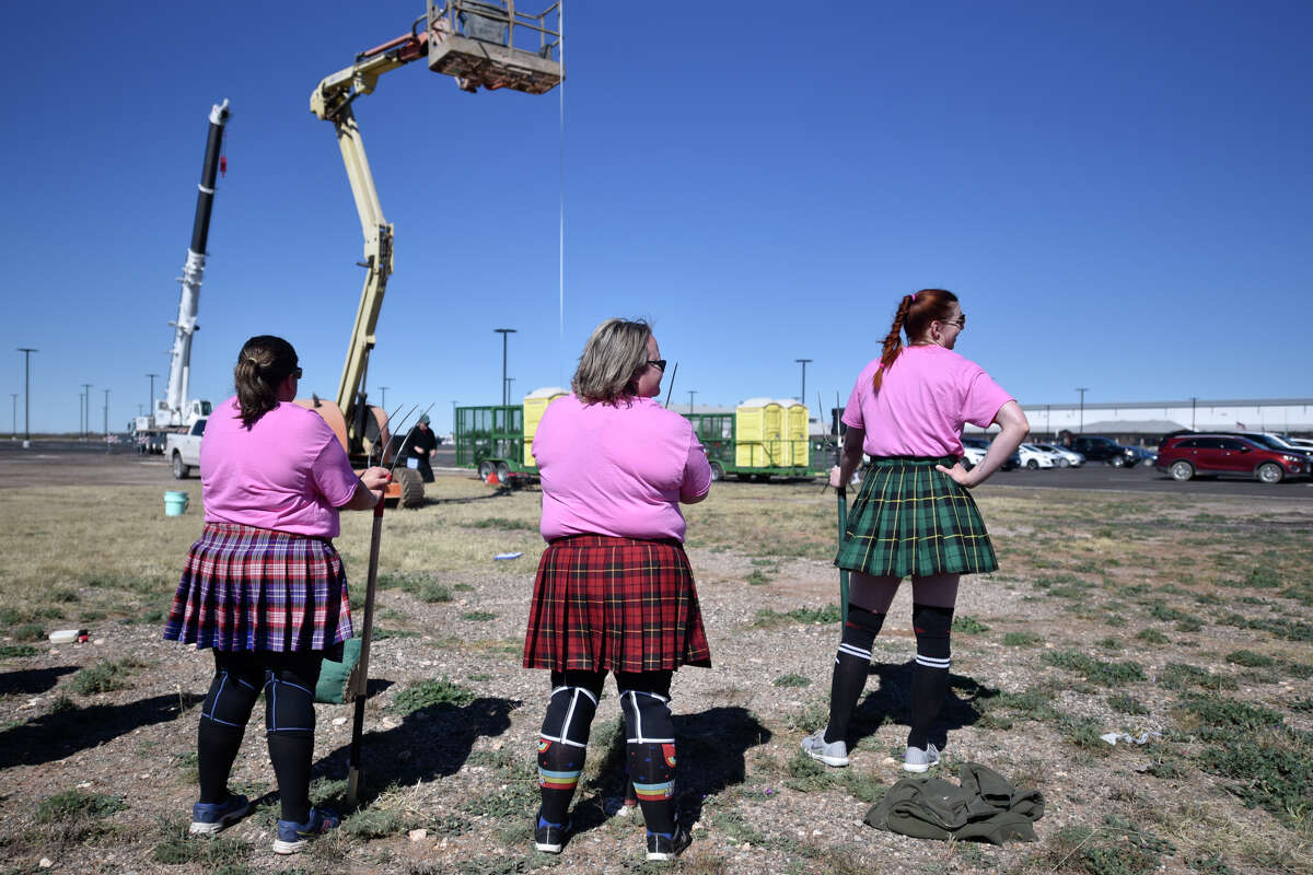 Sheaf toss contestants look on during the Rocky Smith Memorial Highland Games presented by Texas Celtic Athletic Association March 9, 2019, outside Horseshoe Pavilion. James Durbin / Reporter-Telegram
