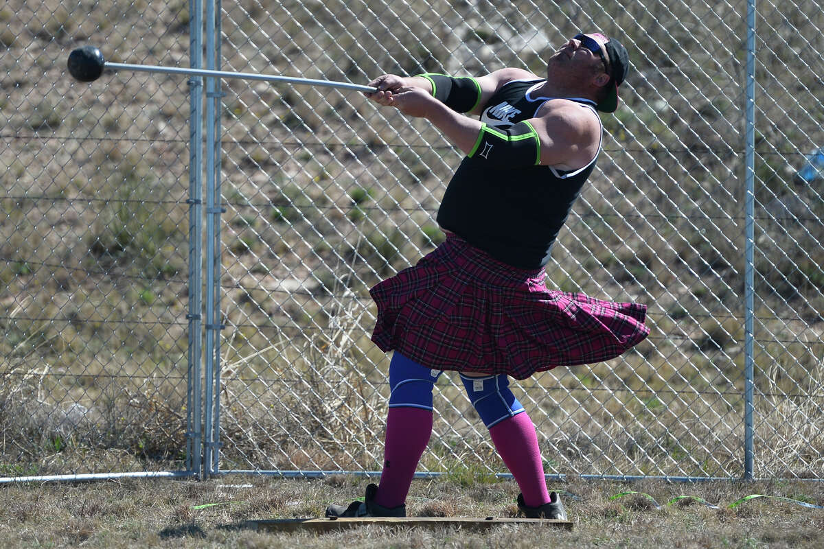 Mike Murphree of Greenwood competes in the hammer throw event during the Rocky Smith Memorial Highland Games presented by Texas Celtic Athletic Association March 9, 2019, outside Horseshoe Pavilion. James Durbin / Reporter-Telegram