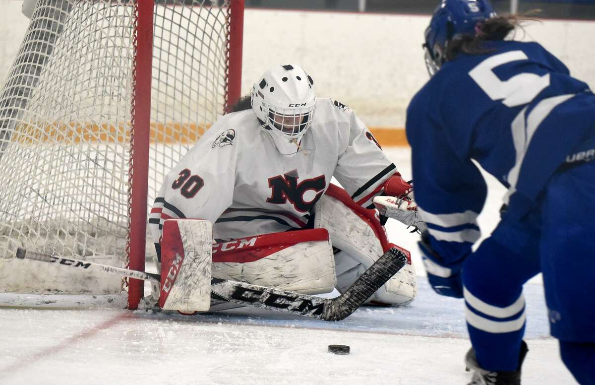 New Canaan goalie Blythe Novick blocks a shot from Darien's Cate Droogan for one of her 21 saves during the CHSGHA state final at Bennett Rink in West Haven on Saturday.