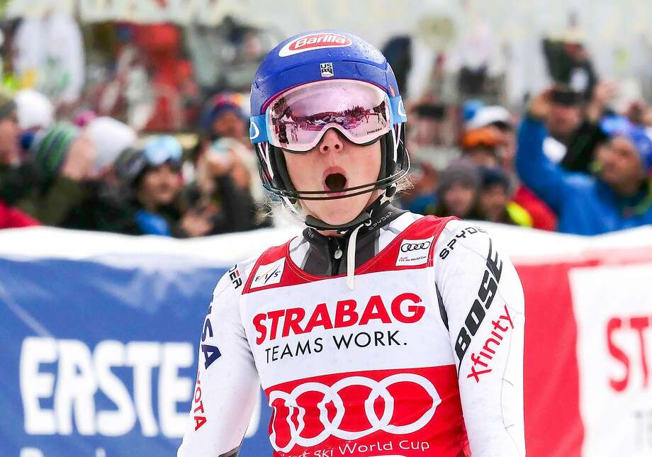 American Mikaela Shiffrin exults after winning the women's slalom event at the FIS Ski World Cup in the Czech Republic. Photo: Joe Klamar / AFP / Getty Images