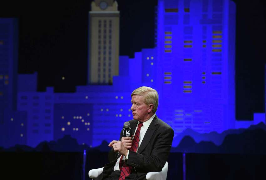 Former Massachusetts governor Bill Weld takes his turn at the microphone. He is weighing a Republican primary challenge against President Trump in 2020.