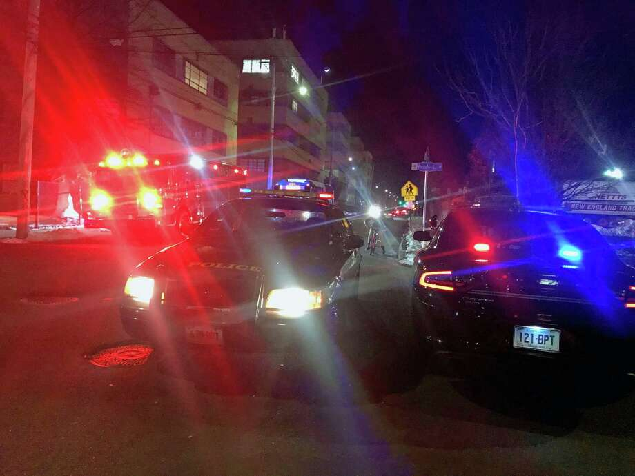 Bridgeport, Conn., police units block off the intersection of Pembrook Street and Barnum Avenue, just a block away from a crash involving a SUV and a motorcycle on March 9, 2019. Photo: Tara O'Neill / Contributed Photo / Connecticut Post Contributed