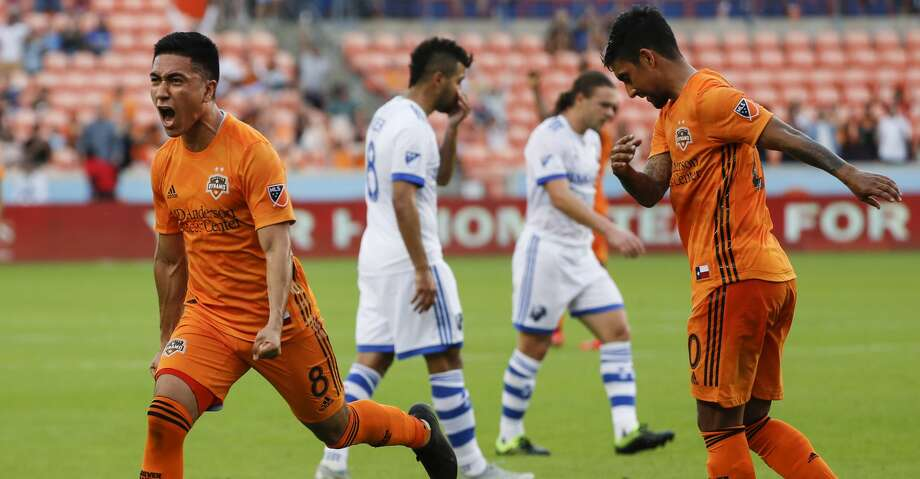 Houston Dynamo midfielder Memo Rodriguez (8) celebrates his goal against the Montreal Impact during the first half of a Major League Soccer match at BBVA Compass Stadium on Saturday, March 9, 2019, in Houston. Photo: Brett Coomer/Staff Photographer