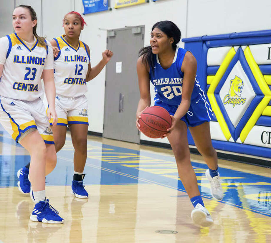 Alexus Williams of LCCC scored 10 points in her team's loss to No. 1-ranked Illinois Central College in Saturday's District M semifinals in Danville. She is shown in action in an early season game against ICC in East Peoria. Photo: Jan Dona   For The Telegraph