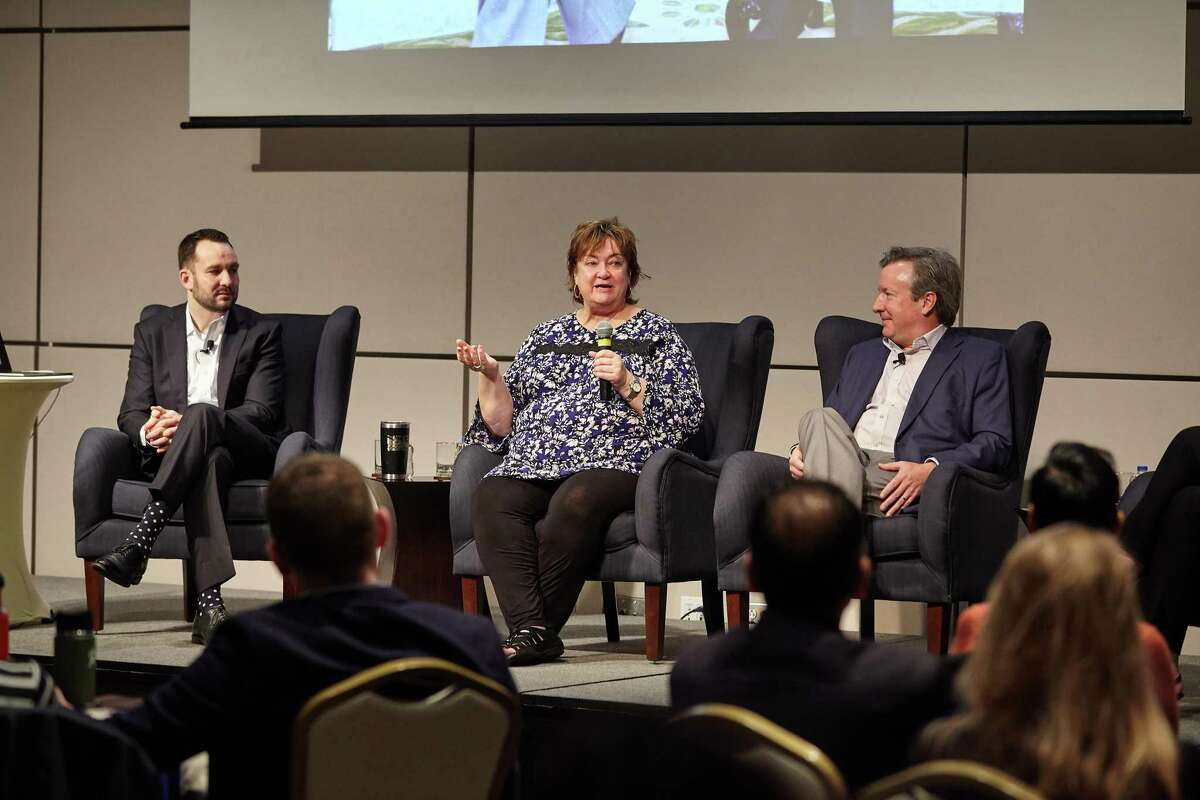 Former George H.W. Bush staffers Evan Sisley, Jean Becker and Jim McGrath (left to right) speak at Bush's presidential center in College Station Saturday, March 9, 2019. The trio discussed Bush's life after he left office in 1993.
