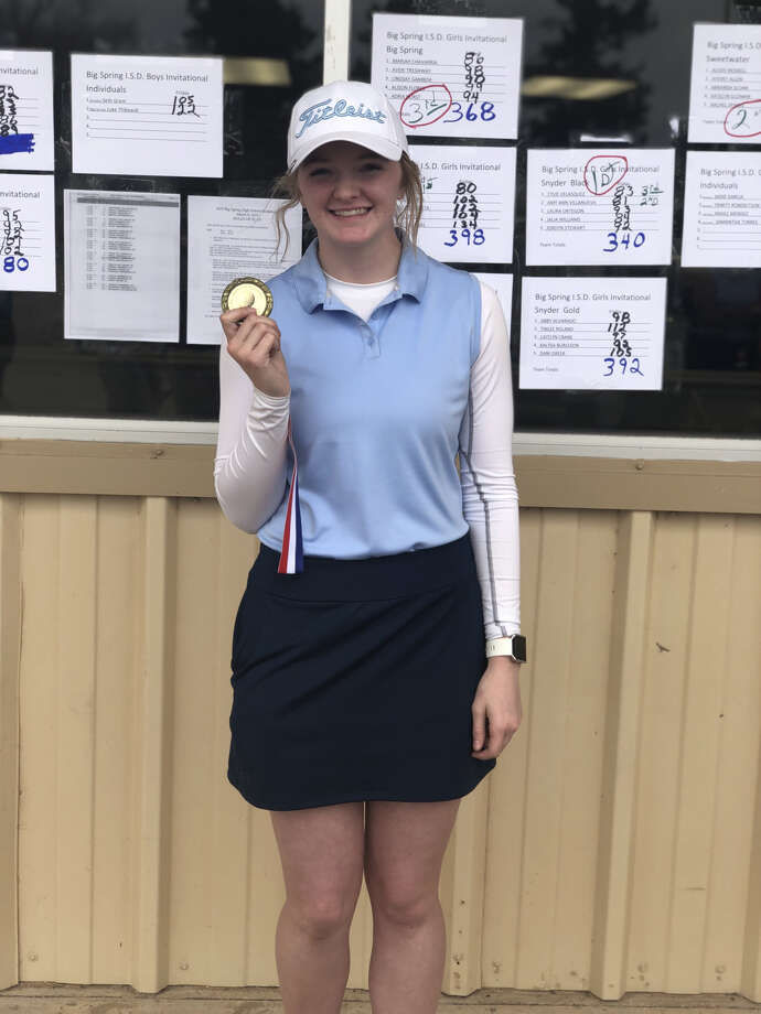 Greenwood's Kaylee Cheek holds her gold medal after winning the Big Spring ISD Golf Invitational Friday at Big Spring Country Club. Photo: Courtesy Photo
