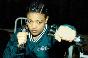 Freeda Foreman, daughter of two-time heavyweight champion George Foreman, trains for her debut fight in the Aquae Sulis Spa at The Regent Las Vegas on Thursday, March 30, 2000.  The fight card, to be held on Saturday, April 1, will feature six bouts at a 2,500-seat outdoor arena.