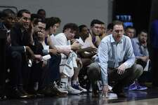 UAlbany coach Will Brown watches his team during its America East Tournament loss to UMBC on Saturday, March 9, 2019. (Gail Burton / Courtesy of UMBC)