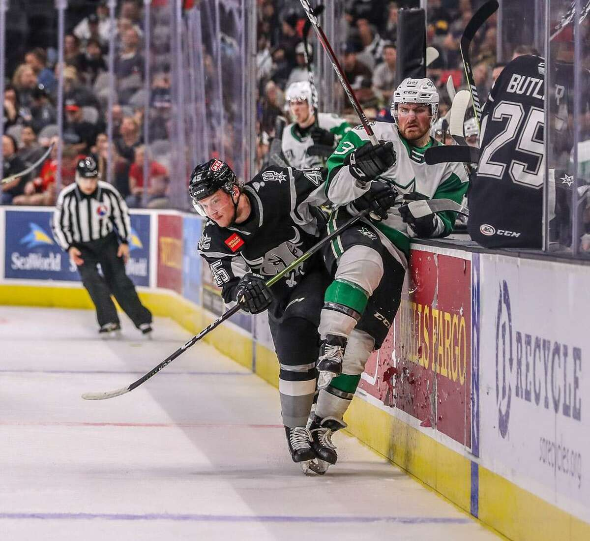 The Texas Stars play the San Antonio Rampage during an AHL hockey game, Saturday, March 9, 2019, at the AT&T Center in San Antonio, Texas. (Josh Jordan/AHL)